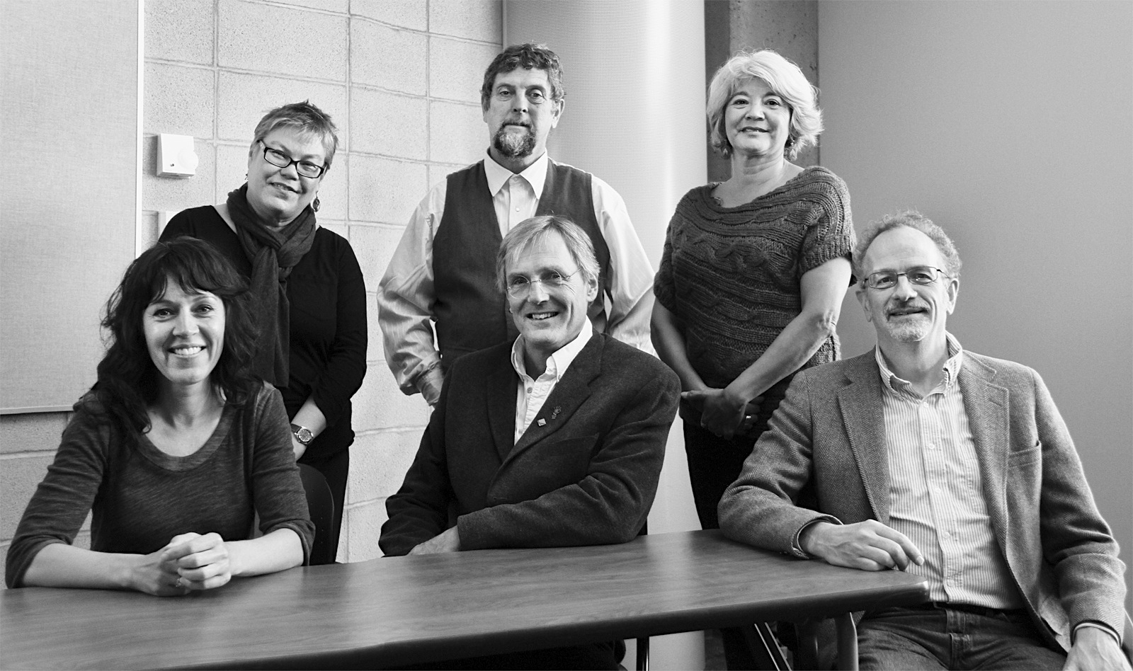 (Back, L to R) Alanna Mitchell, Gary Paul Nabhan, Louise B. Halfe; (Front) Chantal Bilodeau, Peter von Tiesenhausen, Scott Denning